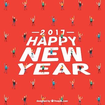 Felice anno nuovo sfondo con la gente pixeled