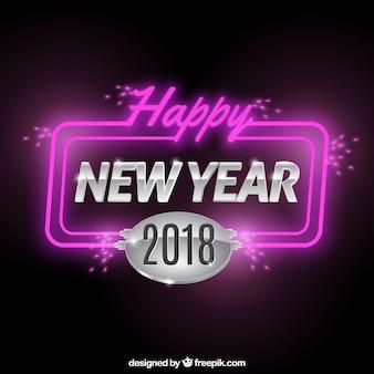 Felice anno nuovo sfondo con luci al neon