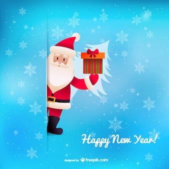 Felice anno nuovo vettore con Babbo Natale