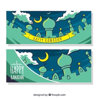 Felice bandiera ramadan con nastro
