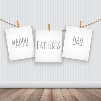 Felice giorno padri sfondo con le carte appese