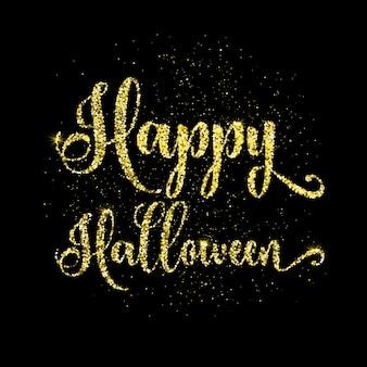 Felice sfondo di testo di Halloween con effetto glitter dorato