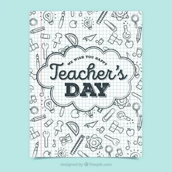 Festa degli insegnanti saluto con scarabocchi