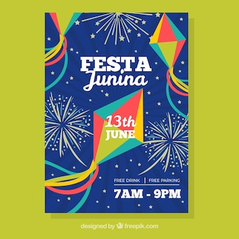 Festa junina con aquiloni e fuochi d'artificio