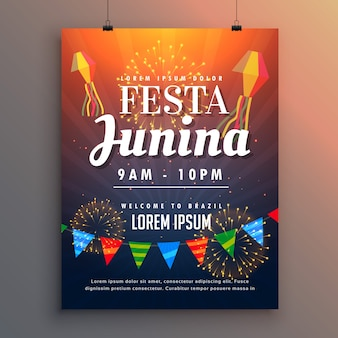 Festa junina party invito design flyer con fuochi d'artificio