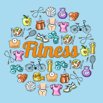 Fitness dieta allenatore esercizio colorato schizzo disegnato a mano concetto illustrazione vettoriale