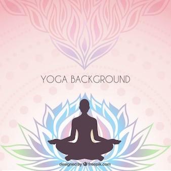 Floral background con una silhouette di yoga