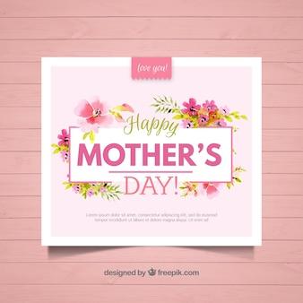 Floral biglietto di auguri per la festa della mamma