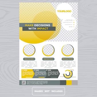 Flyer giallo e bianco di affari
