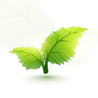 Foglie verdi creative per il concetto di ecologia.