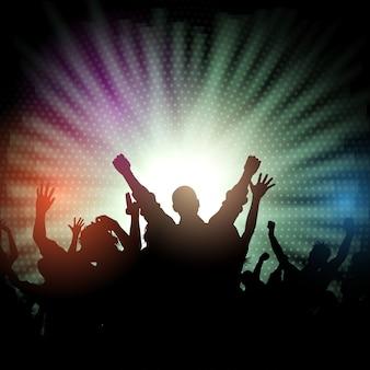 Folla del partito sullo starburst background