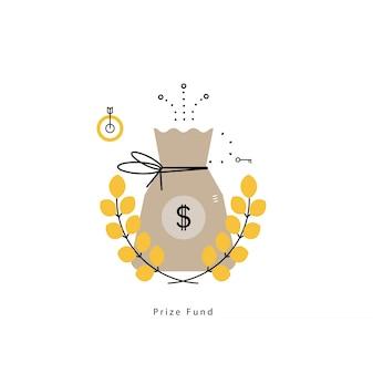 Fondo dei premi, leadership, risparmio di denaro, sacco di denaro con corona di alloro illustrazione vettoriale piatta illustrazione per la grafica mobile e web