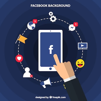 Fondo mobile con elementi di Facebook in design piatto