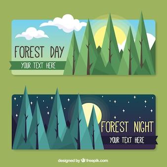 Foresta giorno e notte banner in design piatto