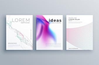 Forma astratta linea e coperture stile fluido impostato nel design moderno template hipster