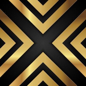 Forma d'oro metallico freccia su uno sfondo metallico perforato