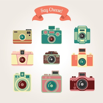 Fotocamera vettoriale vintage arte