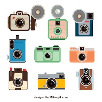 Fotocamere fotografiche fotografiche a disegno piatto