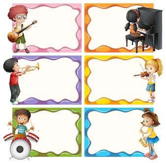 Frame modello con i bambini che giocano strumenti musicali