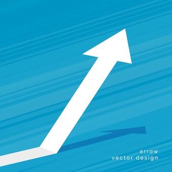 Freccia in aumento su sfondo blu design