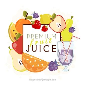 Frutta Premium e lo sfondo succo di frutta
