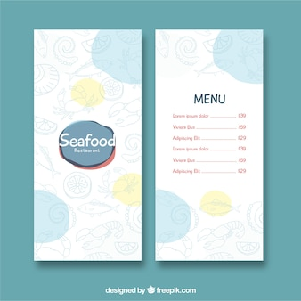 Frutti di mare ristorante menu template