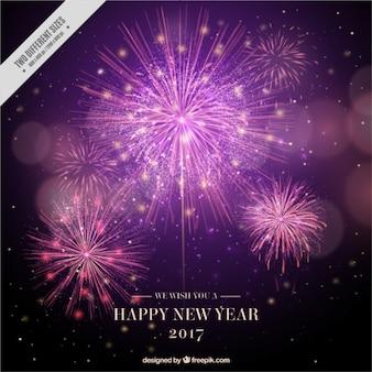 Fuochi d'artificio anno nuovo sfondo in stile realistico