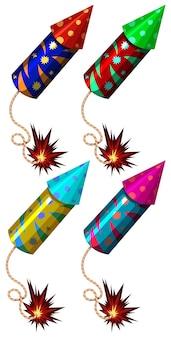 Fuochi d'artificio in diversi colori illustrazione