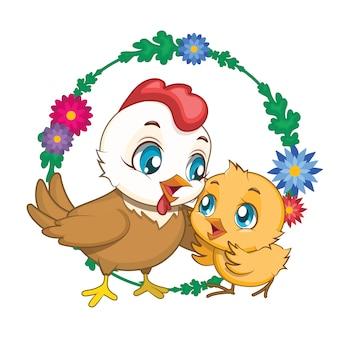 Gallina e pollo disegno