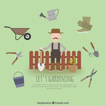 Giardiniere con attrezzi da giardino