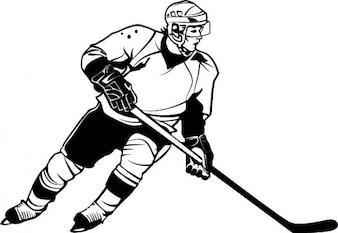 Giocatore di hockey dettagliata vettore cartone animato