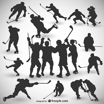 Giocatori di hockey silhouettes set