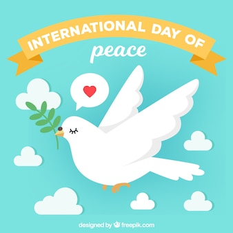 Giornata internazionale di pace, colomba con un ramo di ulivo