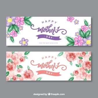 Giorno acquerello striscioni di fiori della mamma