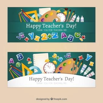 Giorno di insegnante felice con striscioni disegnati a mano