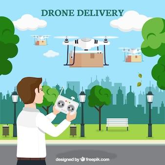 Giovane uomo che controlla diversi drones
