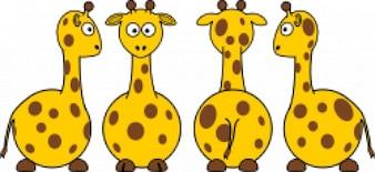 Giraffa cartoon (anteriore, posteriore e vista laterale)