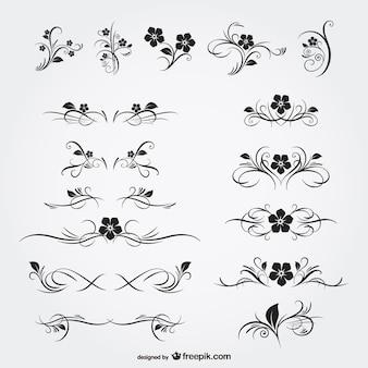 Gli ornamenti floreali grafici gratuiti