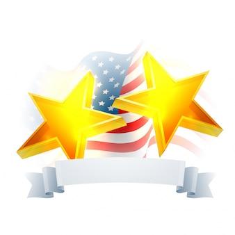 Glowing 3D Golden Stars con il nastro in bianco sulla ondeggiare Mappa USA, sfondo creativo per il 4 luglio, la celebrazione della festa dell'Indipendenza americana.