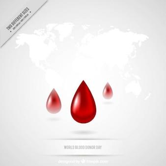 Gocce di sangue su una mappa di sfondo bianco
