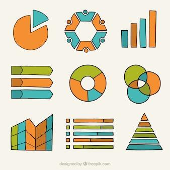 Grafici disegnati a mano per infografica