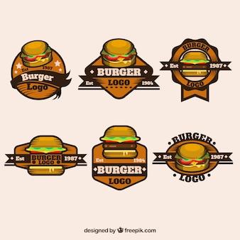 Grande assortimento di loghi retrò con hamburger decorativi