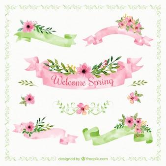 Grande collezione di nastri di primavera in stile acquerello