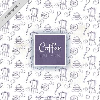 Grande modello con gli elementi di caffè disegnati a mano