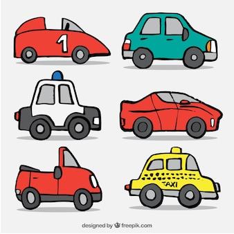 Grande pacchetto con diversi tipi di veicoli dei cartoni animati