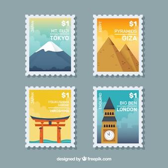 Grande serie di francobolli cittadini in design piatto
