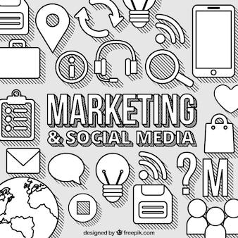 Grande sfondo con elementi di marketing