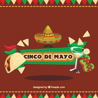 Grande sfondo con oggetti piatti per Cinco de Mayo