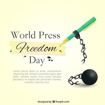Grande sfondo con penna stilografica per il giorno della libertà di stampa mondiale