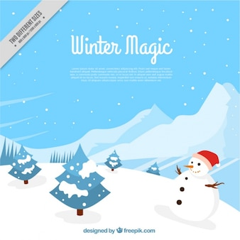 Grande sfondo invernale con gli alberi e il pupazzo di neve in design piatto